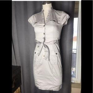 H & M safari style belted snap dress 4